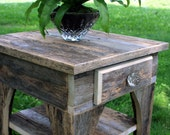 End Table / Bedside Table, Natural Reclaimed Wood, Unfinished - Handmade
