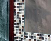 Glass Mosaic Tile Framed Mirror, Brown Merlot Finish, 30 x 36 - Handmade