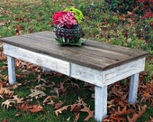 Large Coffee Table, Reclaimed Wood, Rustic Contemporary, Natural and Distressed White Finish - Handmade