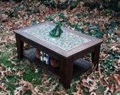 "Coffee Table with Shelf.  Mosaic Tile Coffee Table with shelf.  ""Bamboo Beach"" Cofee Table. Dark Brown Coffee Table.  Rustic Coffee Table."