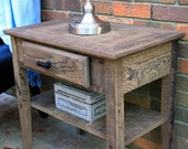 Side Table, Reclaimed Wood, Natural Finish - Handmade
