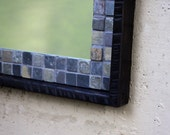 Slate Framed Mirror, Black & Gray Stones, Ebony Frame Finish, 22 x 27 - Handmade