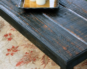 Large Coffee Table, Reclaimed Wood, Rustic Contemporary, Black Amber Finish - Handmade