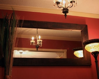 Large Rustic Framed Mirror, Dark Brown Finish, 28 x 60 - Handmade