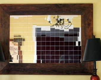 Matrix Framed Mirror, Dark Honey Brown Finish, 30 x 40 - Handmade