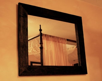 Rustic Framed Mirror, Java Finish, 30 x 36 - Handmade