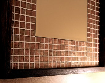 Iridescent Metallic Copper Glass Tile Framed Mirror, Java Finish, 21 x 21 - Handmade