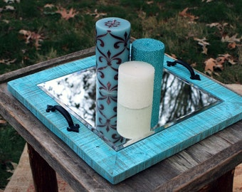 "Candle Tray.  Mirror Candle Holder. Rustic Candle Holder. Wooden Candle Holder. Rustic Candle Tray. 16"" x 16"".  Distressed Turquoise Finish."
