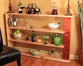 Low Bookcase. Room Divider. Wooden Dry Bar. Maple Room Divider. Maple Bookshelves. Maple & Bubinga. 53w x 37t x 7deep. Clear Coat Finish