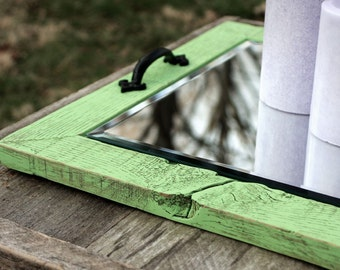 "Mirror Tray. Candle Tray. Candle Holder. Beveled Mirror Candle Tray. Rustic Candle Tray. 16"" x 16"". Distressed Lime Green Finish."
