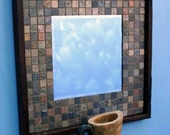 Slate Mirror, Java Finish, 23 x 23 - Handmade
