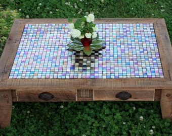Large Coffee Table, Tile Mosaic, Reclaimed Wood, Rustic Contemporary, Natural Finish - Handmade