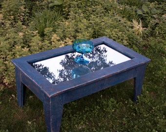 "Mirror Top Coffee Table with Storage (""Denim & Diamonds""), Rustic / Contemporary, Blue Jeans Finish - Handmade"