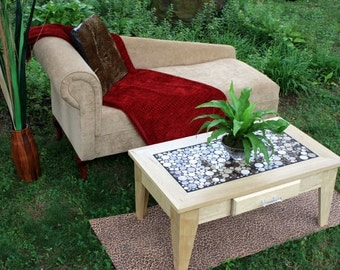 """Coffee Table, Circular Marble Tile Mosaic, Limba Wood, Contemporary, """"Chocolate Eclipse"""", Matte Clear Coat Finish - Handmade"""