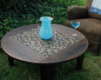 """Round Coffee Table, Glass / Stone Tile Mosaic, Reclaimed Wood, Rustic Contemporary, """"Roman Ruins"""", Dark Brown Waxed Finish - Handmade"""