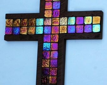 Sparkling Cross.  Glittering Cross.  Mosaic Tile Cross.  Irridescent Tile Cross.  Dark Brown Cross.  11 w x 17 w Cross.  Dark Brown Finish.
