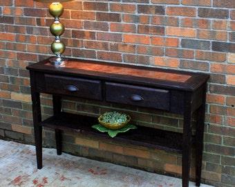 Console Table.  Copper Sofa Table.  Dark Sofa Table. Entry Table. Copper Centerpiece. 45 w x 12-1/4 d x 30 t. Dark Brown Finish
