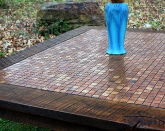 "Large Coffee Table, Copper Mosaic, Reclaimed Wood, Rustic Contemporary, ""Copper Sunset"", Dark Brown Wax Finish - Handmade"