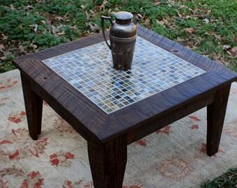 "Small Coffee Table, Tile Mosaic, Reclaimed Wood, Rustic Contemporary, ""Bamboo Beach"", Dark Brown Wax Finish - Handmade"
