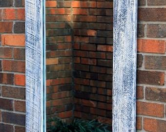 Weathered Wood Framed Mirror, White Washed Finish, 26 x 40 - Handmade