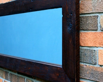 Narrow Framed Mirror, Reclaimed Wood, Chocolate Brown, 16 x 65 - Handmade
