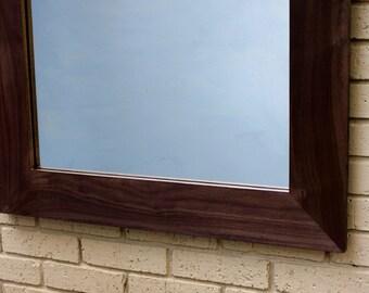 Walnut Framed Mirror, Dark Satin Clear Top Coat, 30 x 45 - Handmade