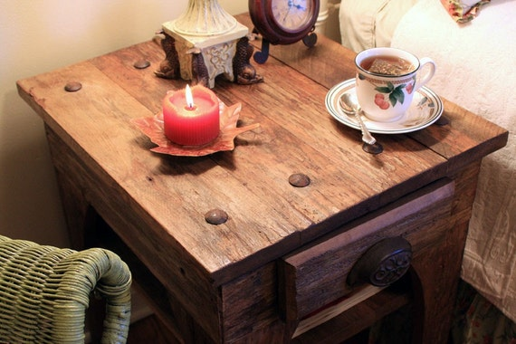 "End Table / Bedside Table, ""Simply Riveting"", Rustic, Reclaimed Wood, Light Brown Finish  - Handmade"