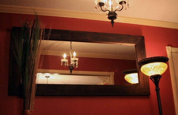Large Rustic Framed Mirror Dark Brown Finish 28 X 60