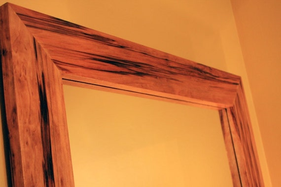 Red Gum Wood Framed Mirror, Clear Coat Finish, 30 x 36 - Handmade