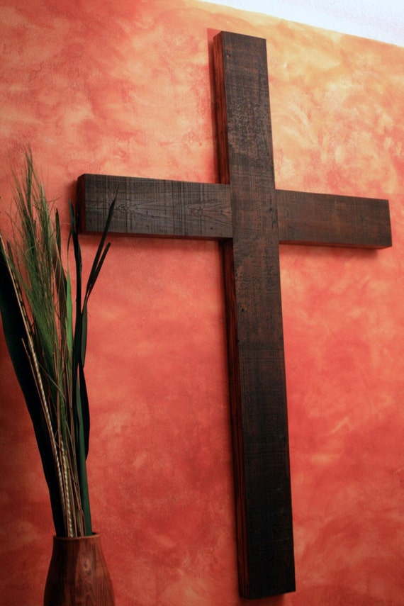Large Rustic Cross.  Very Large Rustic Cross.  Wall Size Cross.  Church Cross.  Dark Brown Cross.  40 x 63 Cross - Handmade