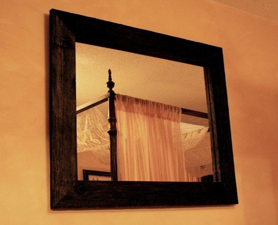 Rustic framed mirror java finish 30 x 36 handmade for Mirror 30 x 36