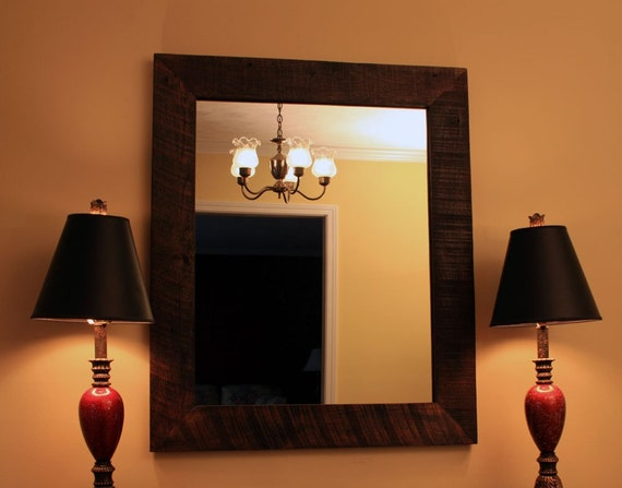 rustic framed mirror java finish 30 x 40 by natureinspiredcrafts. Black Bedroom Furniture Sets. Home Design Ideas