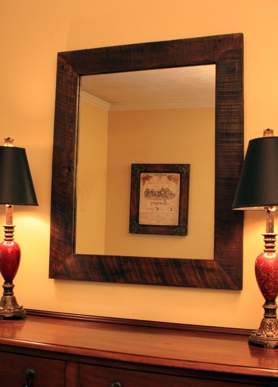 Rustic Framed Mirror, Java Finish, 30 x 40 - Handmade