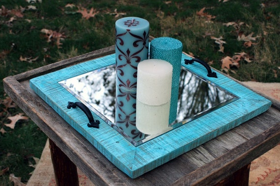 """Candle Tray.  Mirror Candle Holder. Rustic Candle Holder. Wooden Candle Holder. Rustic Candle Tray. 16"""" x 16"""".  Distressed Turquoise Finish."""