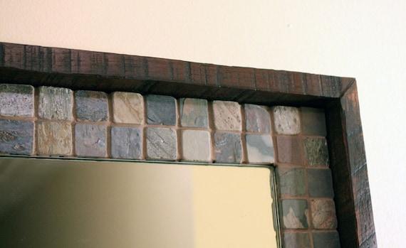 RESERVED for Jay /// Custom Slate and Wood Framed Mirror, Java Finish, 23 x 37 - Handmade