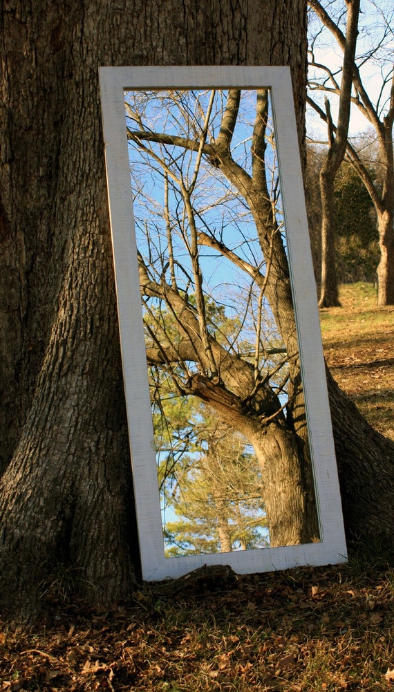 Full Length Mirror, Distressed White Finish, Reclaimed Barnwood, 26 x 66 - Handmade