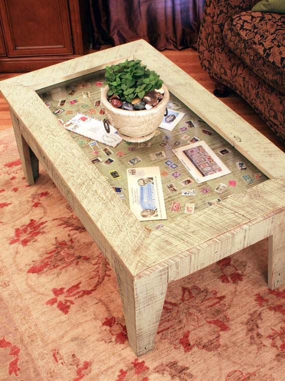 Display Coffee Table Distressed Moss Green Coffee Table