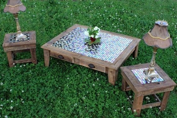 Grande Coffee Table & Pair of End Tables Furniture Suite, Iridescent Glass Mosaic Tile Inlay, Reclaimed Wood, Natural Finish - Handmade