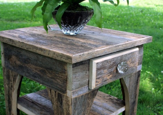 Gray wood end table natural finish reclaimed