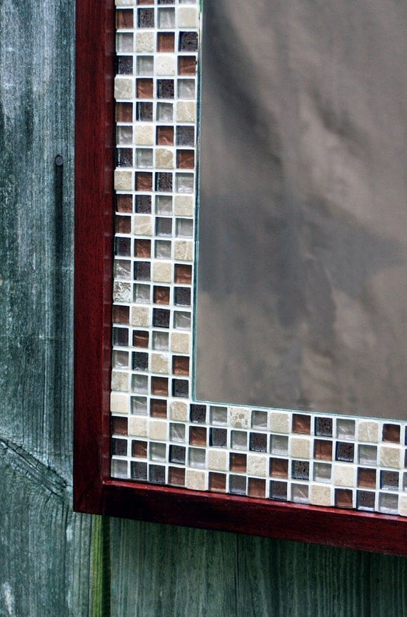 Glass Mosaic Tile Framed Mirror Brown Merlot Finish 30 X 36