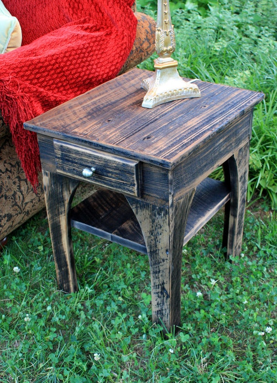 """End Table / Side Table, """"Out of the Ashes"""", Reclaimed Wood, Black & Brown Finish - Handmade"""