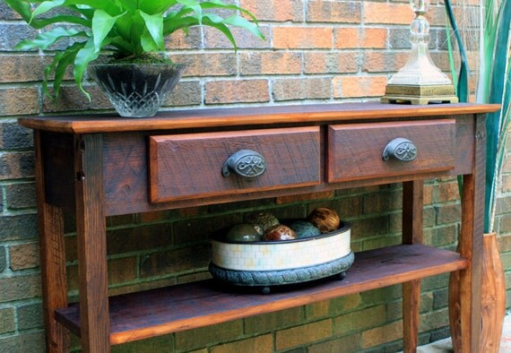 Console Table, Rustic Contemporary, Reclaimed Wood, Chocolate Brown Finish - Handmade