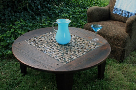 "Round Coffee Table, Glass / Stone Tile Mosaic, Reclaimed Wood, Rustic Contemporary, ""Roman Ruins"", Dark Brown Waxed Finish - Handmade"