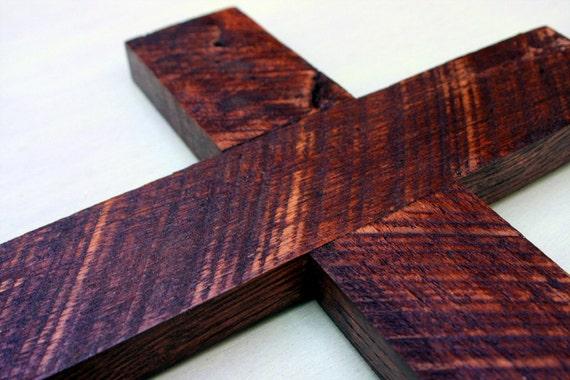 Rustic Wood Cross.  Rustic Cross.  Wood Cross.  Wooden Cross. Dark Brown Cross. 11 x 17 Cross. - Handmade