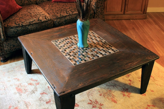 "Square Coffee Table, Glass / Stone Tile Mosaic, Reclaimed Wood, Rustic Contemporary, ""Reflections"", Dark Brown Wax Finish - Handmade"