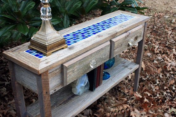 Sofa Table with Glass Mosaic Tile Inlay, Rustic Contemporary, Reclaimed Wood, Unfinished - Handmade