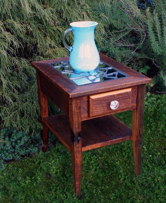 RESERVED for Sheridan /// Custom End Table / Night Stand, Reclaimed Wood, Dark Honey Brown Finish - Handmade