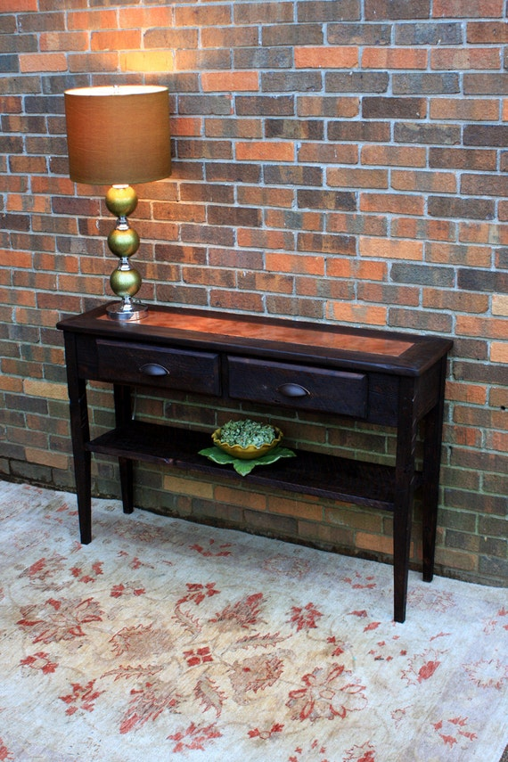 Console Table, Distressed Copper Inlay, Reclaimed Wood, Rustic Contemporary, Dark Brown Finish - Handmade