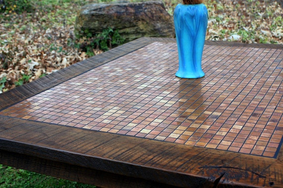"""Large Coffee Table, Copper Mosaic, Reclaimed Wood, Rustic Contemporary, """"Copper Sunset"""", Dark Brown Wax Finish - Handmade"""