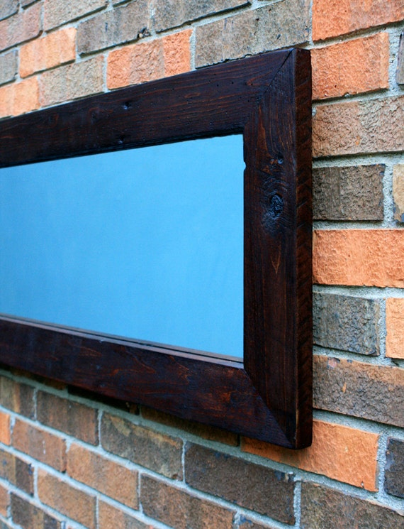 Narrow framed mirror reclaimed wood chocolate brown 16 x 65 for Long narrow mirror